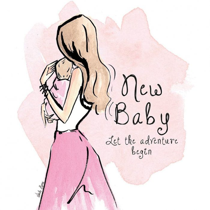 Greeting Card, Linda Byrne Illustration, Linda Byrne Fashion, New baby greeting card, Irish Made, Irish Design