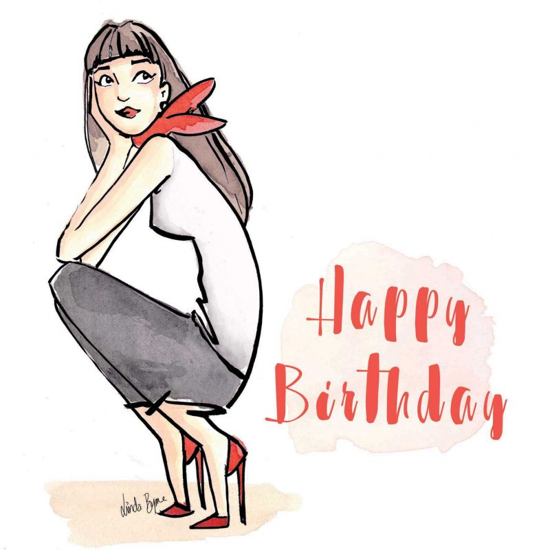 Birthday Beauty Greeting Card, Linda Byrne, Linda Byrne Illustration, Linda Byrne Greeting Card, Fashion Illustration