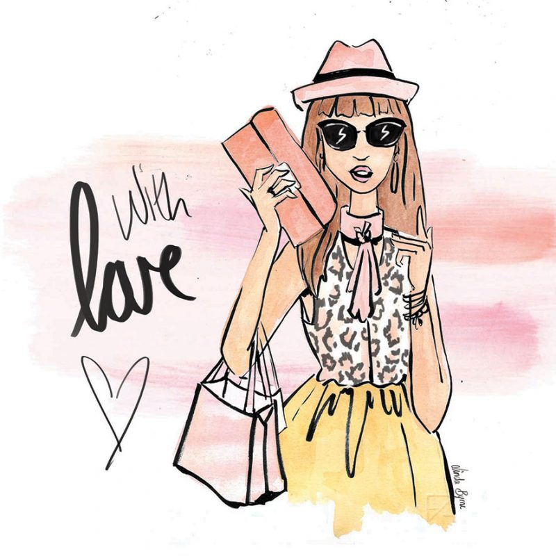 Linda Byrne Illustration, Wedding Day Card, Greeting Card, Fashion Illustration Greeting Card, With Love
