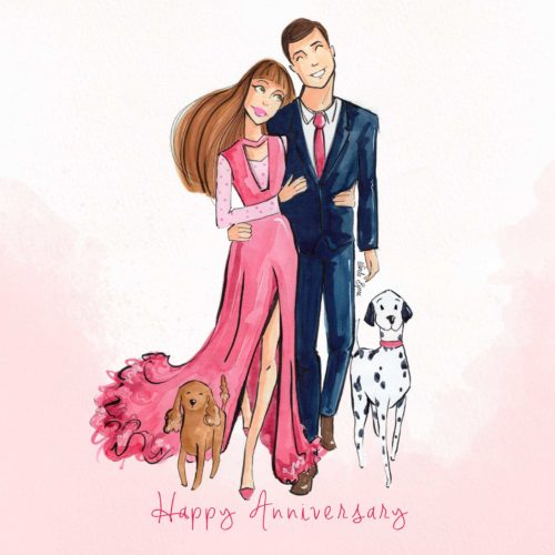 Anniversary_Greeting Card Linda Byrne Illustration, Couple walking dog