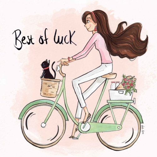 Best Of Luck greeting card, Linda Byrne Illustration, Girl cycling retro bicycle, Cat on a bicycle