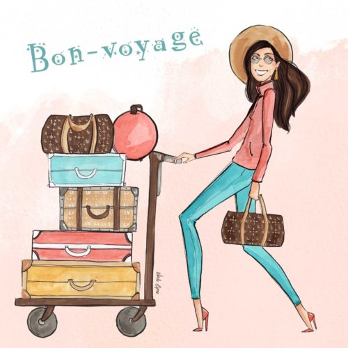 Bon Voyage Greeting Card Linda Byrne Illustration, Women with luggage illustration, Travel illustration