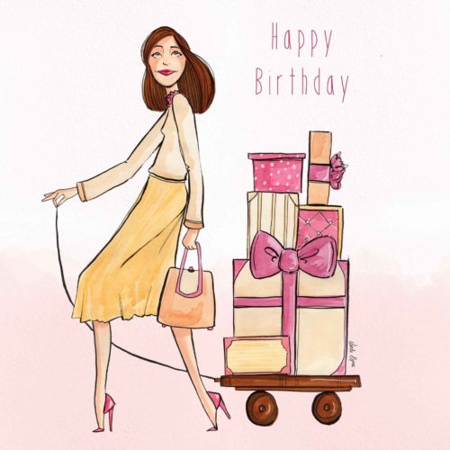 Happy Birthday Greeting Card Linda Byrne, Women with luggage, Women with gifts, women with presents