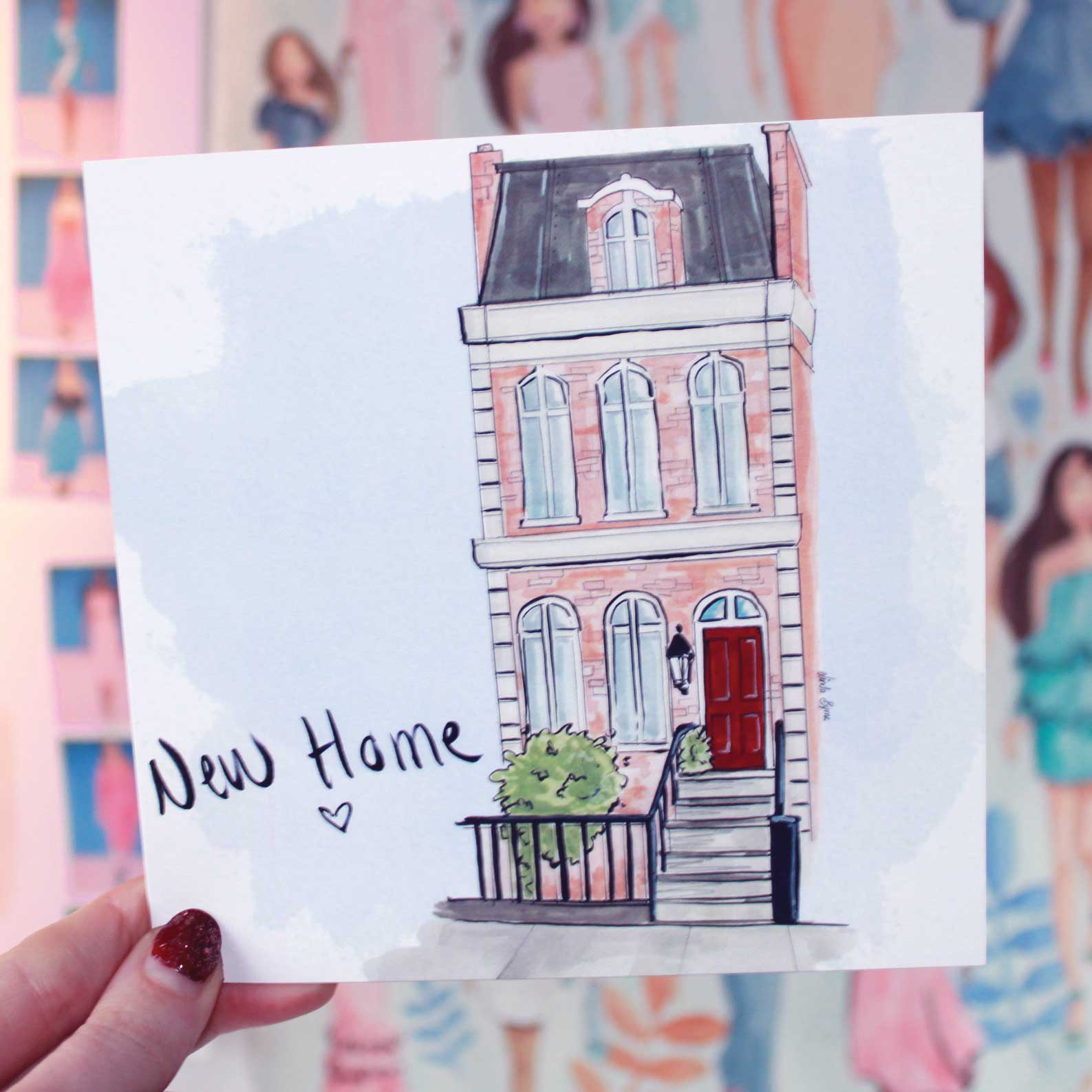 New Home, New House Greeting Card, Linda Byrne Illustration, Town house illustration, Red brick house
