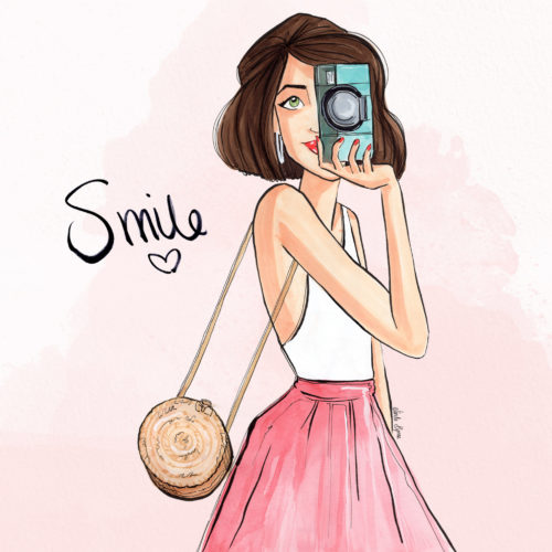 Smile Greeting Card Linda Byrne Illustration, Blogger Illustration, Girl holding retro camera, Women taking photo,