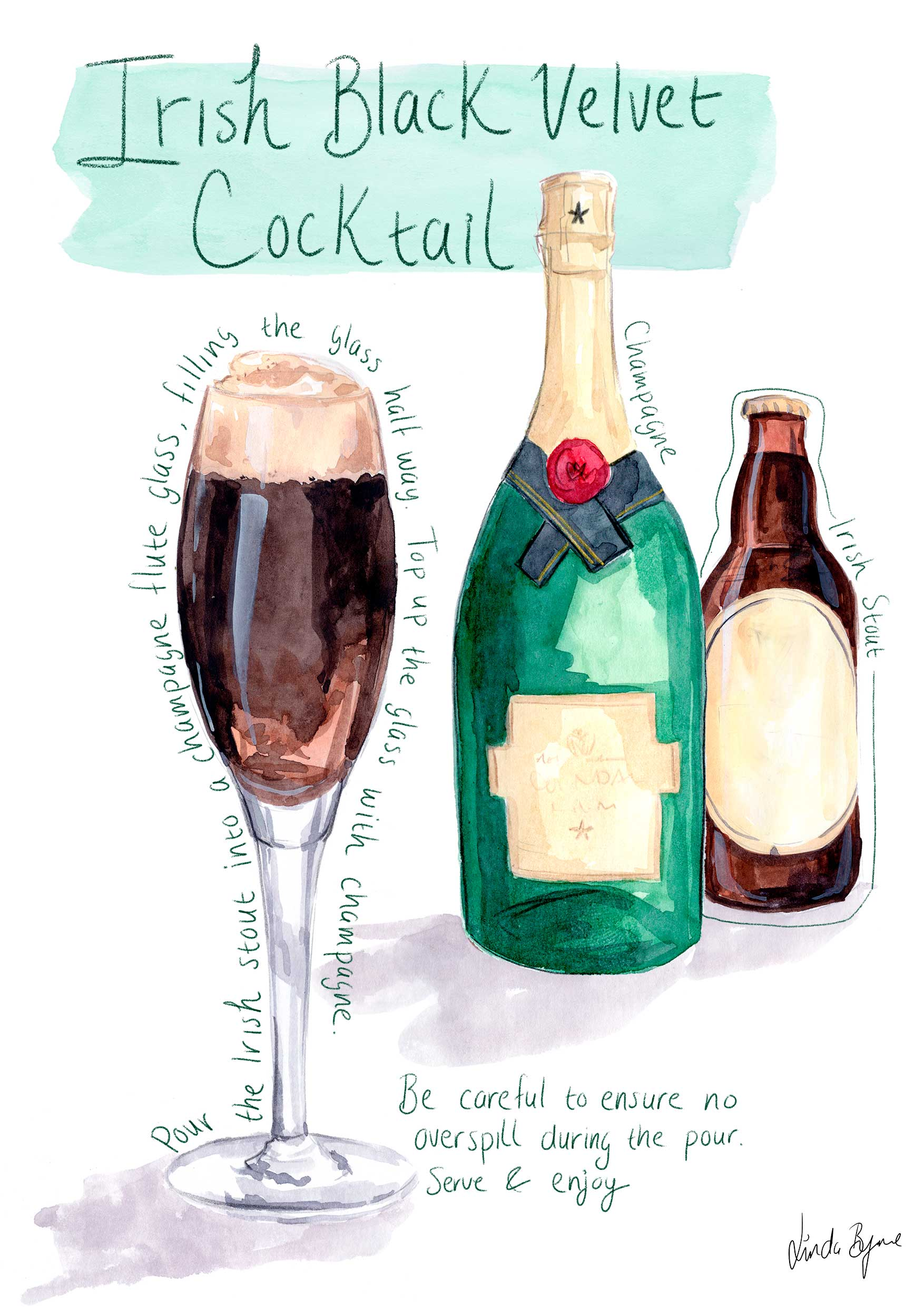 Irish black velvet cocktail illustrated recipe, Linda Byrne Illustration