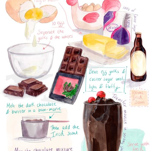 Irish stout and dark chocolate mousse illustrated recipe, Linda Byrne Illustration, Guinness chocolate mousse recipe