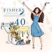Fishers department store celebrates 40 years in business, party illustration, Linda Byrne