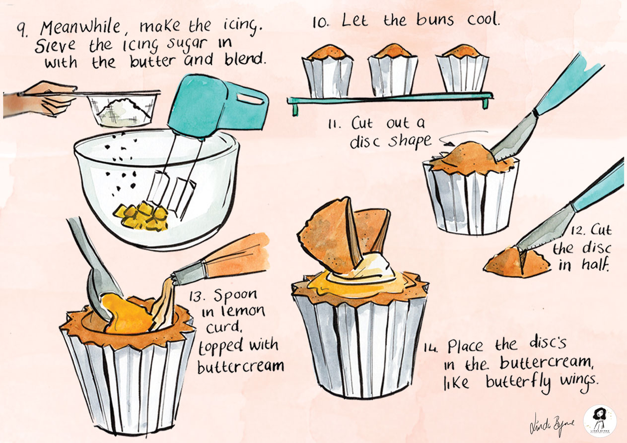 Mary Berry S Butterfly Fairy Cakes Illustrated Recipe Linda Byrne Illustration