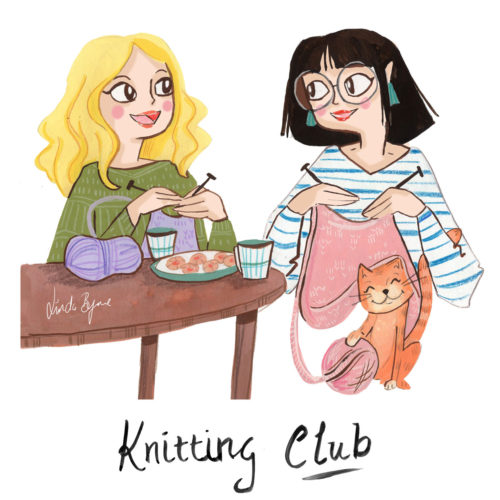 Knitting Club Illustration artwork, handprinted by Linda Byrne. Two ladies knitting.