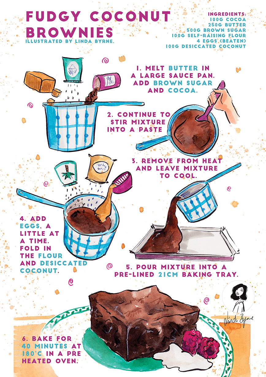 Illustrated Recipe for easy fudgy chocolate brownies by Linda Byrne Illustrators Ireland, Watercolour painting