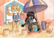 A day at the beach, children's picture book illustration, Summer, Linda Byrne Illustration
