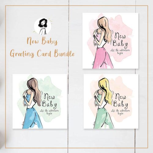Stationery greeting card gift bundle_Linda Byrne Illustration Irish made gifts New Baby card